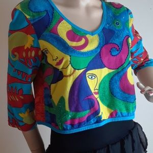 Mudd Beaded Picasso Print Top